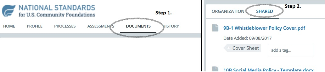Click the Documents tab. Then, click the Shared tab.